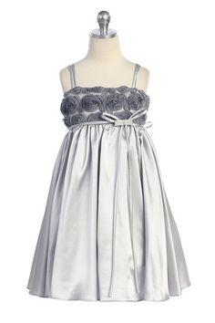 Gray/silver Rosebud Accented Short Flower Girl Dress