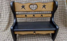 PRIMITIVE CRACKLE WOOD BENCH BLACK STAR COUNTRY FARMHOUSE DECOR