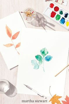 If you have an artist's hand, try a paint-by-the-numbers approach. First, trace the outline of your foraged objects—leaves and flowers—in pencil, then fill in the lines with watercolors. The outdoors are a great place to set up your canvas for natural light. #marthastewart #crafts #diyideas #easycrafts #tutorials #hobby