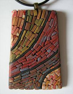 Polymer Clay Mosaic Pendant