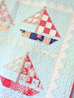 Much love for this sailboat quilt (pattern: Fig Tree, fabric:  Avalon by Fig Tree for Moda)