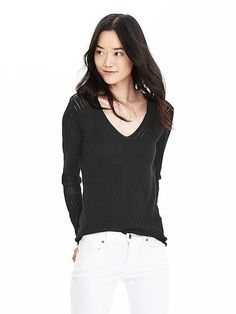 Pointelle Pima Cotton Cashmere Vee Pullover. Like the sweater, great with white jeans!