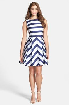 Jessica Simpson Stripe Fit & Flare Dress available at #Nordstrom