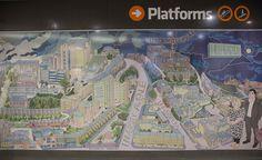 Alasdair Gray's mural for Hillhead Subway Station Newark Castle, Glasgow Cathedral, Scotland, Gray, Grey