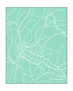 Map of Chattanooga large canvas city maps by CanvasCityMaps eVW
