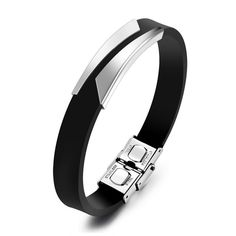 Fashion Silicone Men's Bracelets Unique Cutting Hollow Design Length Adjustable Stainless Steel Man Jewelry Bangles