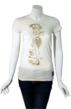 Hula on a White Girls Shirt by Sailor Jerry  - SALE