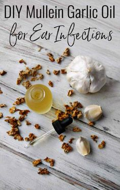 This DIY Mullein Garlic oil for Ear Infections is just what you need if you are looking for a natural remedy for an earache! Mullein is amazing at easing discomfort during ear infections and garlic helps fight the infection that caused the earache in the first place! No mullein? That's ok, just garlic oil works too! #earinfection #earache #mullein #garlic #garlicoil #homeremedy #herbalremedies #natural #safe #DIY