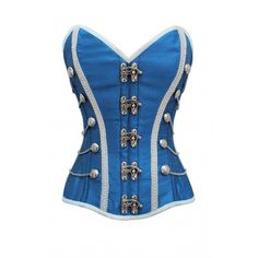 ND-162 - Blue Corset with Buckle Fastening and Button Detail