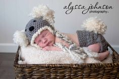 Crocheted Koala Bear Hat and Diaper Cover Set or Photo Prop