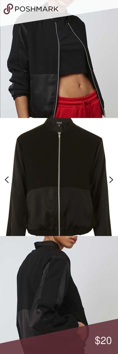 Topshop Matte Shine Bomber jacket Size small black bomber jacket, only used once. Great condition with no stains or tears! Topshop Jackets & Coats