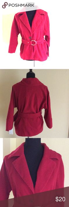 Rafaella Jacket sz 8 In good condition with one button closure. It is lined and has a belt . Color is a reddish berry color. Rafaella Jackets & Coats