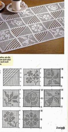 Crochet Table Runner Pattern, Crochet Doily Diagram, Filet Crochet Charts, Crochet Tablecloth, Crochet Stitches Patterns, Doily Patterns, Thread Crochet, Crochet Motif, Crochet Doilies