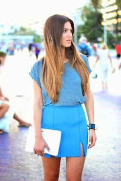 Negin Mirsalehi: Shades of Blue // simple Tshirt and skirt combo with blue Hermes bracelet and white clutch