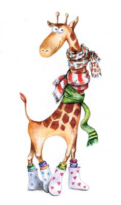 animated giraffe in scarves and boots Giraffe Illustration, Cute Illustration, Christmas Drawing, Christmas Paintings, Giraffe Pictures, Cute Pictures, Art Drawings Sketches, Animal Drawings, Giraffe Art