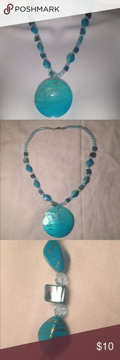"Turquoise Shell Pendant Necklace Cute 20""turquoise beaded necklace with shell look pendant. Jewelry Necklaces"