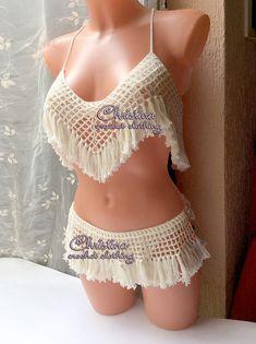 Crochet bikini swimwear fringe top bottom by CrochetLaceClothing
