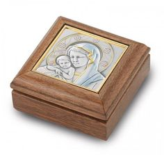 """2-7/8"""" x 2-7/8"""" Embossed Sterling Silver Hand Painted Image of Madonna and Child…"""