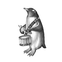 """""""Part of the NYC Central Park Delacorte Clock Musical Animal series, my original pencil illustration of the 'Penguin w/ Drum' adds the rhythmic beat to this musical group.""""  Fine Art Illustrations by Jessica Boehman"""