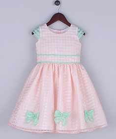 Look what I found on #zulily! Peach Organza Gingham A-Line Dress - Toddler & Girls #zulilyfinds