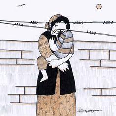Refugio ilustrado, exposición que pone el acento en la situación del refugiado Medicine Notes, Walk Of Shame, Illustration Art, History, Thesis, Feminism, Poetry, Politics, Collage