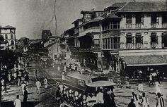 Way back in 1874, horse drawn tram cars on Bombay road were quite popular. Here is one such tram car full of people, who are going from one place to another.