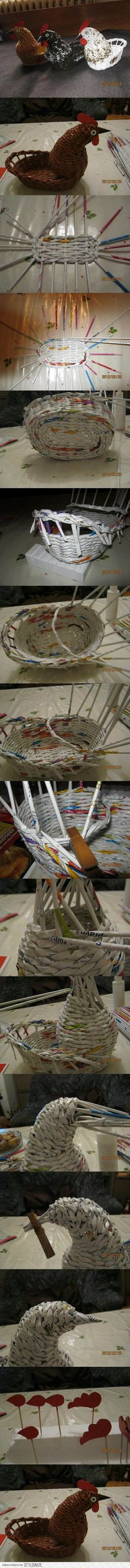 DIY Woven Paper Chicken Easter Basket | iCreativeIdeas.… na Stylowi.pl