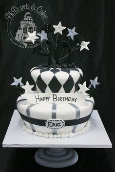 Black &amp- Silver Present 30th Birthday Cake | Best 30th birthday ...