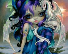 Frost Dragonling Baby Dragon Fairy by Jasmine Becket-Griffith - big eyed fantasy art, fairy with baby dragon ice dragon snow by Strangeling big eyes art 🌻 For more great pins go to Fantasy Creatures, Mythical Creatures, Jasmine Becket Griffith, Dragons, Fairy Pictures, Baby Fairy, Wow Art, Dragon Art, Ice Dragon
