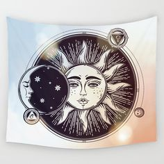 Qchengsan Sun and Moon Psychedelic Natural Mandala Style Hanging Wall Tapestries Full-Polyester Tapestry Table Cover Bedspread Beach Towel inch, Moon Decor, Wall Decor, Beach Blanket, Picnic Blanket, Sun And Moon Tapestry, Bohemian Tapestry, Colorful Tapestry, Psychedelic Tapestry, Hippie Art
