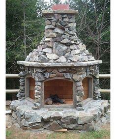 Custom Outdoor Fireplace - Home and Garden Design Ideas