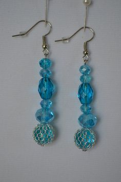 Fishnet Wire Wrapped Blue Earrings.  Fun and Sparkling! Summer, Vacation, Seaside, Tropical by SKDesignsCo on Etsy