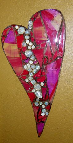 Stain glass heart with pearled glass
