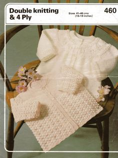 Baby & Dk Light worsted Matinee Jackets - Phildar 460 - PDF of a Vintage Knitting Patterns