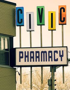 """Civic Pharmacy"" - American Graphic 50s/60s Neon Signs."