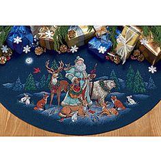 Woodland Santa Tree Skirt Counted Cross Stitch Kit