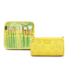 Seven-Piece Yellow Makeup Brush & Cosmetic Bag Set