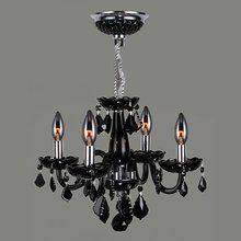 """View the Worldwide Lighting W83100C16-BL Clarion 4 Light 1 Tier 16"""" Chrome Chandelier with Black Crystals at LightingDirect.com. $194"""