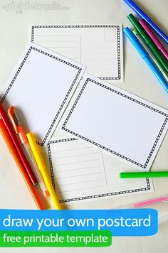 Draw Your Own Postcard. – Picklebums Draw Your Own Postcard – a free printable postcard template The post Draw Your Own Postcard. – Picklebums appeared first on Crafts. Diy Postcard, Printable Postcards, Postcard Template, Postcard Format, Free Postcards, Fabric Postcards, Postcard Design, Writing Activities, Activities For Kids