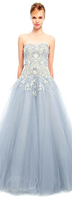 Beautiful style for prom Brenna and Mackenzie. Marchesa 2014 Metallic Floral Tulle Ball Gown