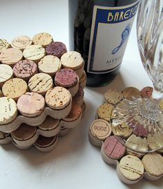 Honeycomb Wine Cork Coasters with Khaki Ribbon