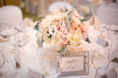 romantic, pink + peach centerpieces by Fiore Fine Flowers