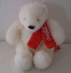 Official Coca Cola White Polar Bear Soft Toy Plush Beanie Collectable