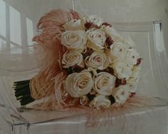 Bouquet of roses with feathers