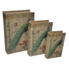 Cheungs FP-3252-3 Cheung's FP-3252-3 Vibrant Peacock Decorative Book Boxes (Set of 3). Cheung s is a family owned and operated comapny for decades with a great product line of mirrors metal wall art lamps accessories clocks baskets planters table pieces and accent furniture their mission remains to creatine superb quality and design at a great value. | eBay!