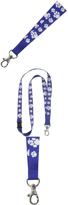 PinMarts Blue and White Paw Print School Mascot Sports Lanyard w// Safety Release