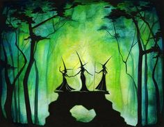 Emerald Fire Council - Witch Sisters in a Dark Green Fantasy Forest. This would be cool to put in your house for Halloween. Soirée Halloween, Halloween Pictures, Holidays Halloween, Vintage Halloween, Halloween Decorations, Witch Pictures, Halloween Clothes, Witch Painting, Halloween Painting