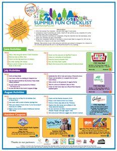 Print your very own I Love Austin - Summer Fun Checklist For Kids!