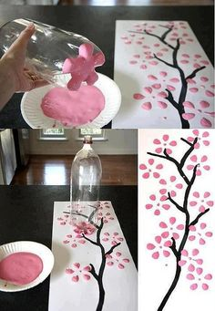 Make an easy simple tree painting. You'll need: brown paint for the branches . - Make an easy simple tree painting. You'll need: brown paint for the branches any colored paint for the flowers paper a liter bottle a paint brush - Kids Crafts, Diy Home Crafts, Easy Crafts, Diy Para A Casa, Art Diy, Diy Room Decor, Home Decor, Diy Wall, Art For Kids
