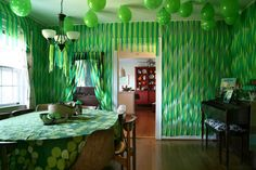Peter Pan party room... I like the Neverland feel all the green gives.